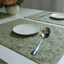 green simple placemats for kitchen dining washable non slip heat insulation table mats pad set of 6 wholesale - Kitchen Table Mats