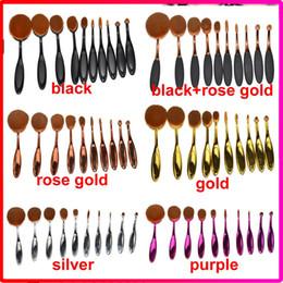 10pcs / set 6pcs 5pcs / sets brosse à dents forme ovale maquillage pinceau de fond professionnel de la poudre composent des brosses avec la boîte de détail