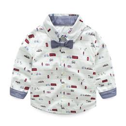 Wholesale Ropa de los niños Ropa de los niños Niños camiseta de arco manga larga Cool coche de impresión de dibujos animados Hombre T shirt algodón de marca al por mayor