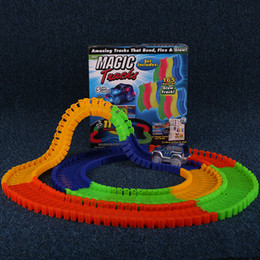 magic tracks bend flex racetrack for kids amazing race track children railcar led light up car grows novelty games