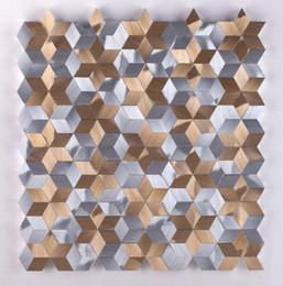 Mixed color Metal kitchen backsplash mosaic wall tiles.interior wall decor  DIY sticker tile, 3D Aluminium modern tiles art design,LSALN01