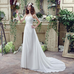 online shopping Bohemian Ruche Sweetheart Brooch Chiffon Sheath Wedding Dresses Strapless Sleeveless Court Train Lace up Cheap Bridal Gowns Beautiful