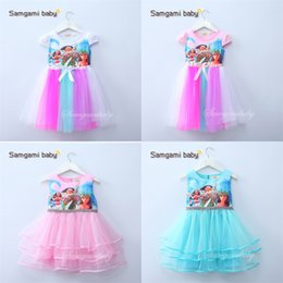 online shopping 2017 new baby girls Moana bow dress summer cartoon Children Moana printing lace dresses Kids Clothing colors C1860