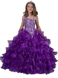 Wholesale Little Girl s Pageant Vestidos Vestido Coral Royal Blue Princesa Comunión Parte Con Perlas Sequins Niños Vestido Formal Ruffles Largos Baratos