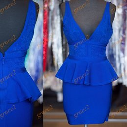 Wholesale Cocktail Dresses with Deep V Neck and V Back Real Photo Sheath Royal Blue Lace Formal Dress Short Party Gown In Stock