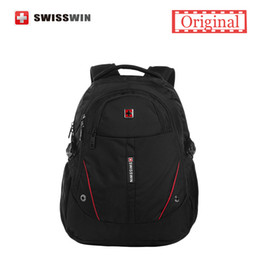 Wholesale- Swisswin Men Laptop Backpack Computer Backpack for Business and Travel Black lightweight Urban Backpack Female Sac a dos cheap laptop lightweight from laptop lightweight suppliers