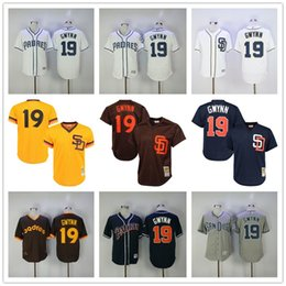 Discount brown baseball jerseys Throwback San Diego Padres #19 Tony Gwynn 1978 1982 1984 Vintage White Blue Orange Brown Gold Cooperstown Baseball Jerseys on Sale