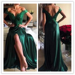 Wholesale El nuevo cordón verde atractivo del hombro V cuello profundo adelgaza el vestido trasero largo de la alfombra roja de la rebanada alta partida trasera de los vestidos del baile de fin de curso