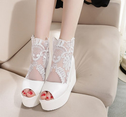 2017 NEWEST sexy roman women white black silver high heels ankle boots lace up summer sandals fish head Wedges Increased cool boots sandals from zip front boots suppliers