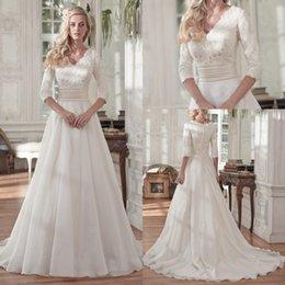 Wholesale Modest gasa encaje mangas largas cuello en V Princesa vestidos de novia Vintage vestidos de novia vestido de novia musulmana