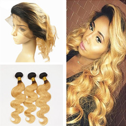 Discount ombre two tone color virgin hair Ombre Hair With 360 Lace Frontal Two Tone 1B 27 Honey Blonde Ombre Body Wave Virgin Human Hair Bundles With Lace Band Closure