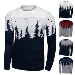 Мужчины Рождество свитер Рождество ретро пуловер Рождественская елка Верхняя одежда вязать вязания свитера способа зимы Вязаные пальто PPA609
