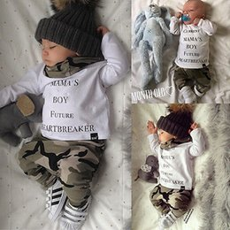 Wholesale NWT INS New cute Baby Boys Outfits Summer Sets Boy Cotton Tops Shirts Harem Pants PJ S Current Mama s boy future Heartbreaker