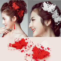 Wholesale Women Hair Jewelry Accessory Wedding Bridal Bridesmaid Red White Crystal Pearl Butterfly Hairwear Hair Pin Clip Tiara HP034