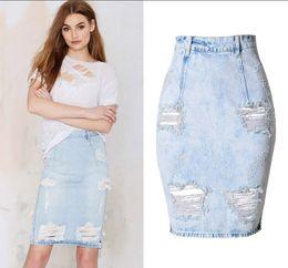 Discount Slit Denim Skirt | 2017 Slit Denim Skirt on Sale at ...