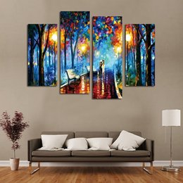 Hot Sell Modern Hd Home Decor Couple Walking Oil Paintings Cheap But High Quality 4 Piece Canvas Art Paintings For Living Room