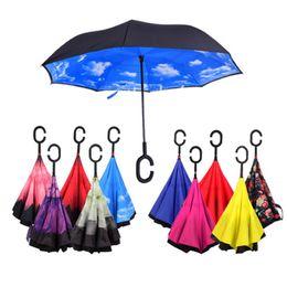 Parapluie inversé Creative Double couche Reverse Rainy Sunny Umbrellas Self Stand Inside Out Protection contre la pluie C Crochet Mains diverses couleurs DHL
