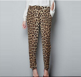 Wholesale 2017 pantalones de pantalones de leopardo de la cintura del verano de primavera de alta pantalones de pantalones de verano mujeres de verano de largo pantalones ocasionales más tamaño