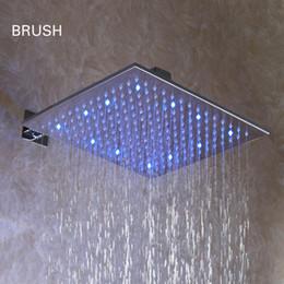 12 polegadas banheiro quadrado escovado níquel sobrecarga levou cabeça de chuveiro de chuva - frete grátis (d003-1)