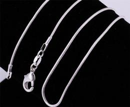 50 pcs en argent sterling 925 en argent sterling collier en chaîne de serpent collier en forme de chaîne de billes collier taille 1mm 16inch --- 24inch