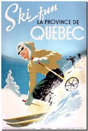 Vintage Illustrated Travel Poster Hand Painted Portrait Art Oil Painting Ski Quebec Canada Home Wall Decor High Quality Canvas Multi Sizes