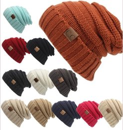 2017 wholesale knitted cashmere hat Unisex CC Trendy Hats Winter Knitted Woolen Beanie Label Fedora Luxury Cable Slouchy Skull Caps Fashion Leisure Beanies Outdoor Hats
