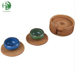 Wholesale Bamboo Tea Cup Coasters Set Eco Friendly Cup Pad Chinese Handmade Tea Tools Fashion Home Decor 2016 New Tea Accessories