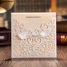 ivory pearl paper wedding invitation card with ribbon bowknot lace handmade cards for wedding romanstic style design