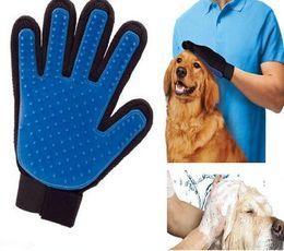 De Buena Calidad Pet GLove verdadero toque de limpieza Masaje de eliminación de guantes de baño perro gato cepillo peine herramientas de limpieza de cabello