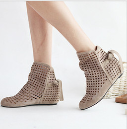 online shopping Big Size Women s Summer Boots Flat Low Hidden Wedges Cutout Ankle Boots Ladies Dress Casual Shoes Hot sale Cute Flock P26