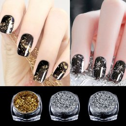 Wholesale Nuevo Oro Plata Glitter Flakes De Aluminio pc Magic Espejo Efectos Polvos Sequins Nail Gel Polaco Cromo Decoraciones De Pigmento