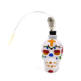online shopping NEW Colored Skull Pipes Glass Hookahs Bong Alloy Glass With Leather Hose Portable Mini Pipes Smoking Accessories Smoking Pipe