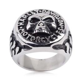 2017 motocyle skull ring stainless steel biker rings for men - Skull Wedding Rings For Men