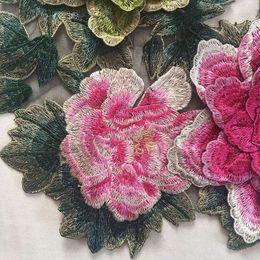 Wholesale 3D Peony Rose x40cm Flor Applique Bordado Pasta De Tejido Peony Decoración Flor Patches Coser On Patches Ropa