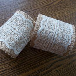 Wholesale 100pcs Lace Burlap Napkin Rings For Wedding Napkin Holder Rustic Wedding Decor