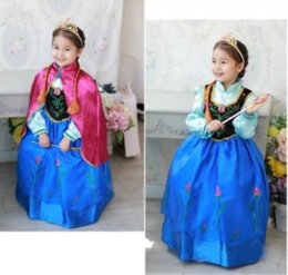 Wholesale 2017 Hot Baby Girls Frozen Anna Dresses vêtements ensembles avec Cloak robe de bal Robe Outfits
