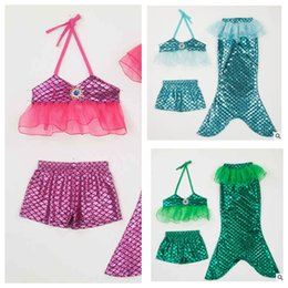online shopping Baby Mermaid Swimwear Swimsuit top shorts Fish tail set children Mermaid Bikini Little Mermaid Costume Outfits Party Dress KKA1411
