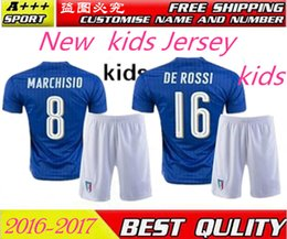 Enfant Italie maillot de football 2017 De Rossi Verratti maillot de football Accueil Maillot extérieur Pelle maillot de foot 1617 Italie uniforme de football