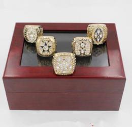 1971/1977/1992/1993/1995 Replica Dallas Cowboys Super bowl Campeonato Ring 5pcs Juegos con caja de madera
