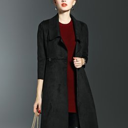 Or Mains Femmes Printemps Automne Nouvelle Solid couleur Windbreaker Long Slim Lapel Neck Manteau Mode Vêtements Dames Trench Coats Livraison gratuite