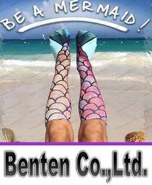 Мода 3D женщины дамы Mermaid печати чулок Носки 2016 года Sexy Новый мультфильм Косплей Костюм основывая Рыба длинные носки до колена подарков LLFA