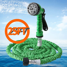 2017 25ft hose spray Wholesale-7 in 1 Spray Gun Expandable Garden Hose Latex Tube Magic Flexible Hose For Garden Car Plastic Hoses 25FT Blue Green Orange cheap 25ft hose spray