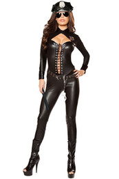 Discount sexy black police costume 6pcs Frisky Officer Costume 2017 Halloween Costume for Woman Sexy Police Officer Costume LC89036 Party Uniform Fantasia