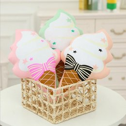 2017 Ice Cream Home Decor Wholesale Cute Brinquedo Ice Cream Pillow Kids Bow Ribbon Pillow