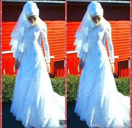 Wholesale 2017 el spandex largo musulmán de la manga de la nueva llegada rebordeó el neckline de los appliques v del vestido de boda una línea vestidos modestos de la novia superventas
