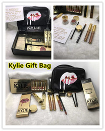 Drop Ship Kylie Caixa De Presente Golden Box Brilho Suit Maquiagem Saco Aniversário Cosméticos Birthday Bundle Bronze Kyliner Kylie Jenner Holiday