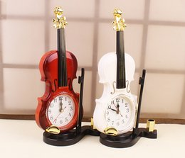 Discount Home Decor Violin 2 Colors Creative Instrument Table Clock Student Violin Gift Home Decor Fiddle