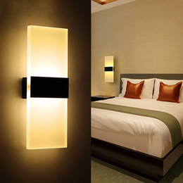Modern Acrylic 6w Led Wall Lamp Aluminum Lights Fixture On Off Decorative Sconce Night Light For Pathway Staircase Bedroom Balcony Drive W