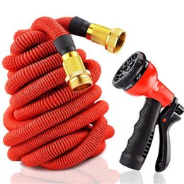 Discount 25ft hose spray Expandable Flexible Garden Watering Hose 25FT 50FT Metal Connector with Spray Washing Car Pet Pipe 75FT 100FT EU US Version Hoses