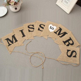 Miss Mrs Jute Flag Pennant Rustic For Wedding Birthday Party Decoration Photography Props Decor Banner Za3200